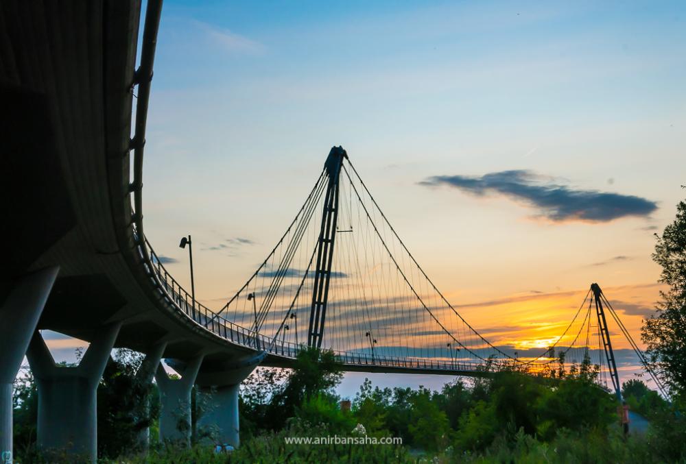 Magdeburg: Herrenkrug bridge at sun set.