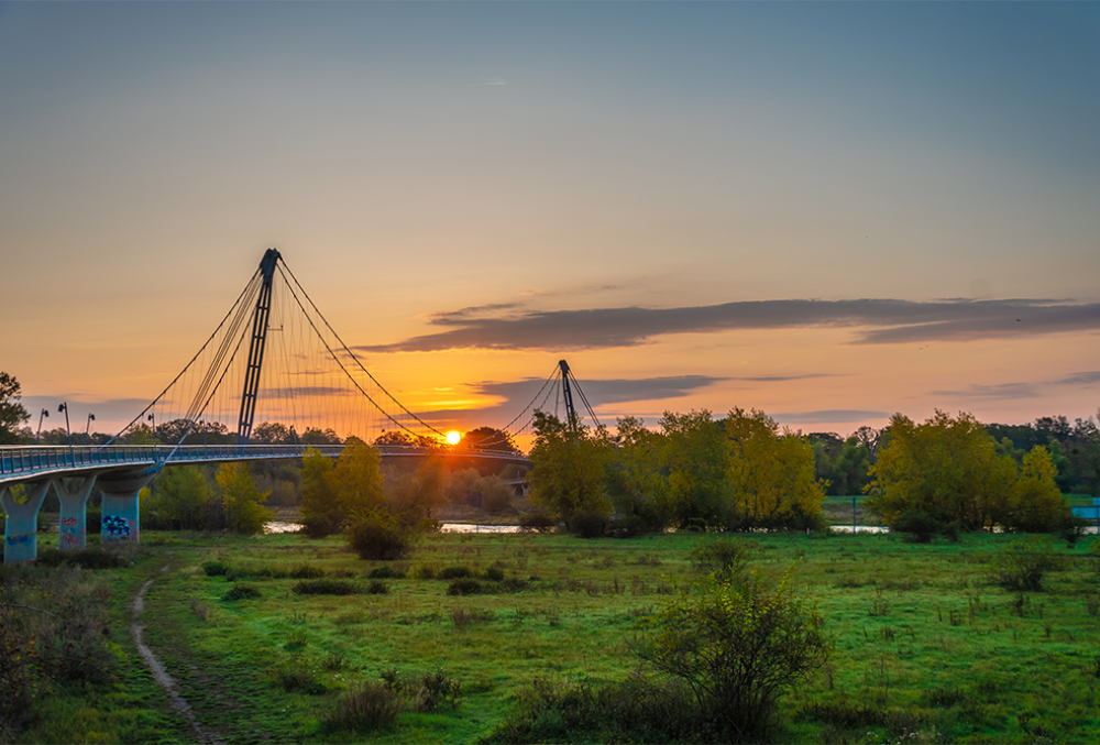 Magdeburg: Herrenkrug bridge at sun rise.