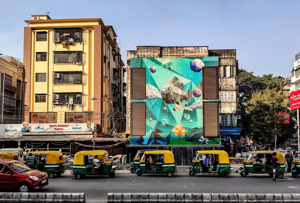 New wall painting, Kolkata. Photograph: Bodhisatta Singha Roy